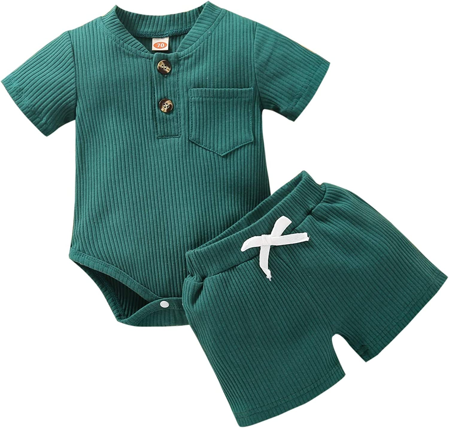 Newborn Baby Boys Girls Outfits Infant Ribbed Knitted Cotton Short Sleeve Tops 2 Piece Shorts Set Summer