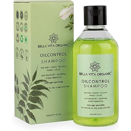 Bella Vita Organic Oil Control Shampoo for Oily Hair and Scalp Anti Dandruff with Natural Neem, Tea Tree Oil, Vitamin B5 - 225ml Sulphate and Paraben Free
