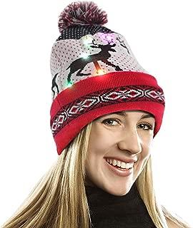 EZGO 带彩灯的亮灯帽,男女皆宜针织灯帽,带 Sika 鹿印花,适合派对、圣诞节礼物运动、散步、慢跑自行车