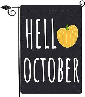 Gz party Hello October Pumpkin Garden Flag Vertical Double Sided 12.5 x 18 Inch,Farmhouse Fall Thanksgiving Halloween Burl...