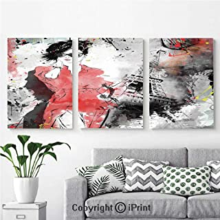 Modern Gallery Wrapped Canvas Print Modern Parisienne French Fashion Icon  Lady Woman On Complex Grunge Background