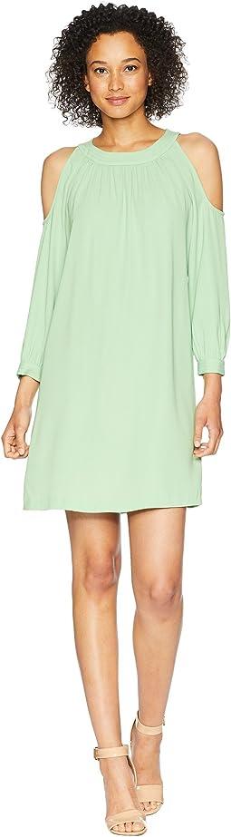 3/4 Sleeve Cold Shoulder Shift Dress