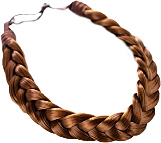 Madison Braids Women's Two Strand Headband Hair Braid Natural Looking Synthetic Hair Piece Extension - Lulu - Golden Red