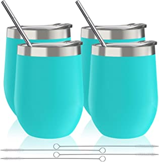 Zonegrace 4 Sets 12 oz Stainless Steel Stemless Wine Glass/Mug, Unbreakable Double Wall Vacuum Insulated thermal Wine Tumbler with Lids for Wine, Coffee, Including 4 Straws (Light Blue)
