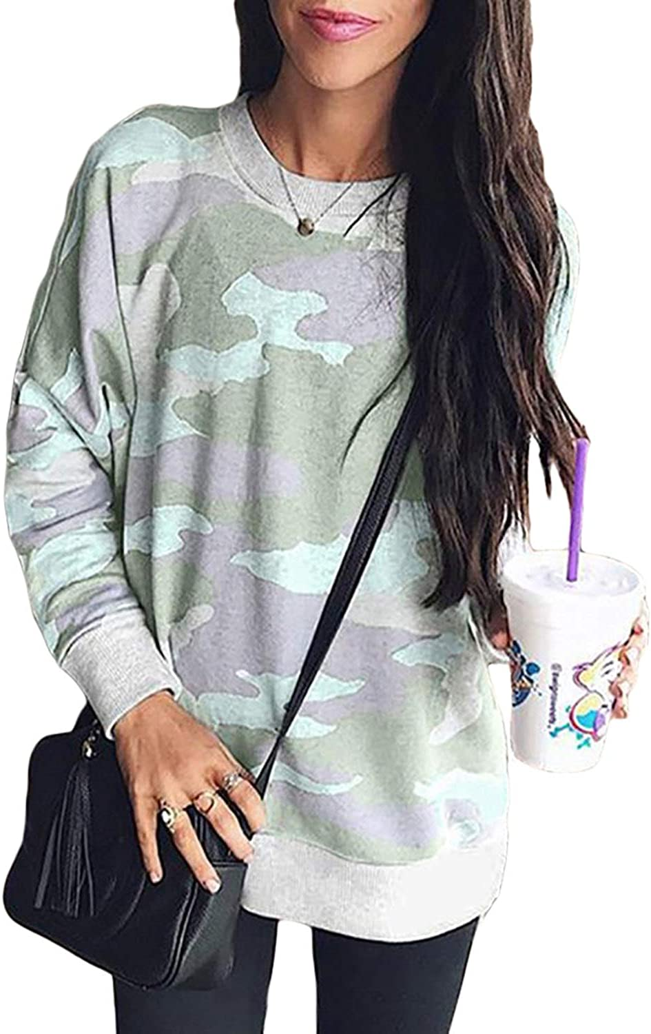 Malaven Women Camo Print Long Sleeve Crew Neck Loose Fit Casual Fall Sweatshirt Pullover Blouses Tops Shirts