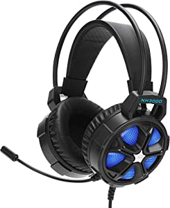 NyearGaming Headset One PS4 Wired PC Headphones with Noise Canceling Bass Surround Mic LED Light Over Ear Gaming Headphones for iPad/Smartphone/Laptop/PC/MAC/PS4/Xbox one (Adapter Not Included)