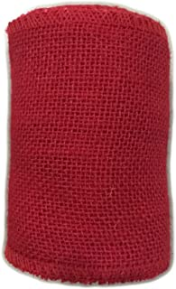 "AAYU Brand Premium red 5"" Burlap Ribbon Rolls | Red 5 Inch x 5 Yards 100% Natural, Eco-Friendly, Natural Floral Arrangemen..."