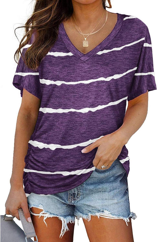 FABIURT Womens Summer Tops, Women Casual V Neck Stripe Printed T-Shirt Loose Short Sleeve Color Block Blouse Summer Tops