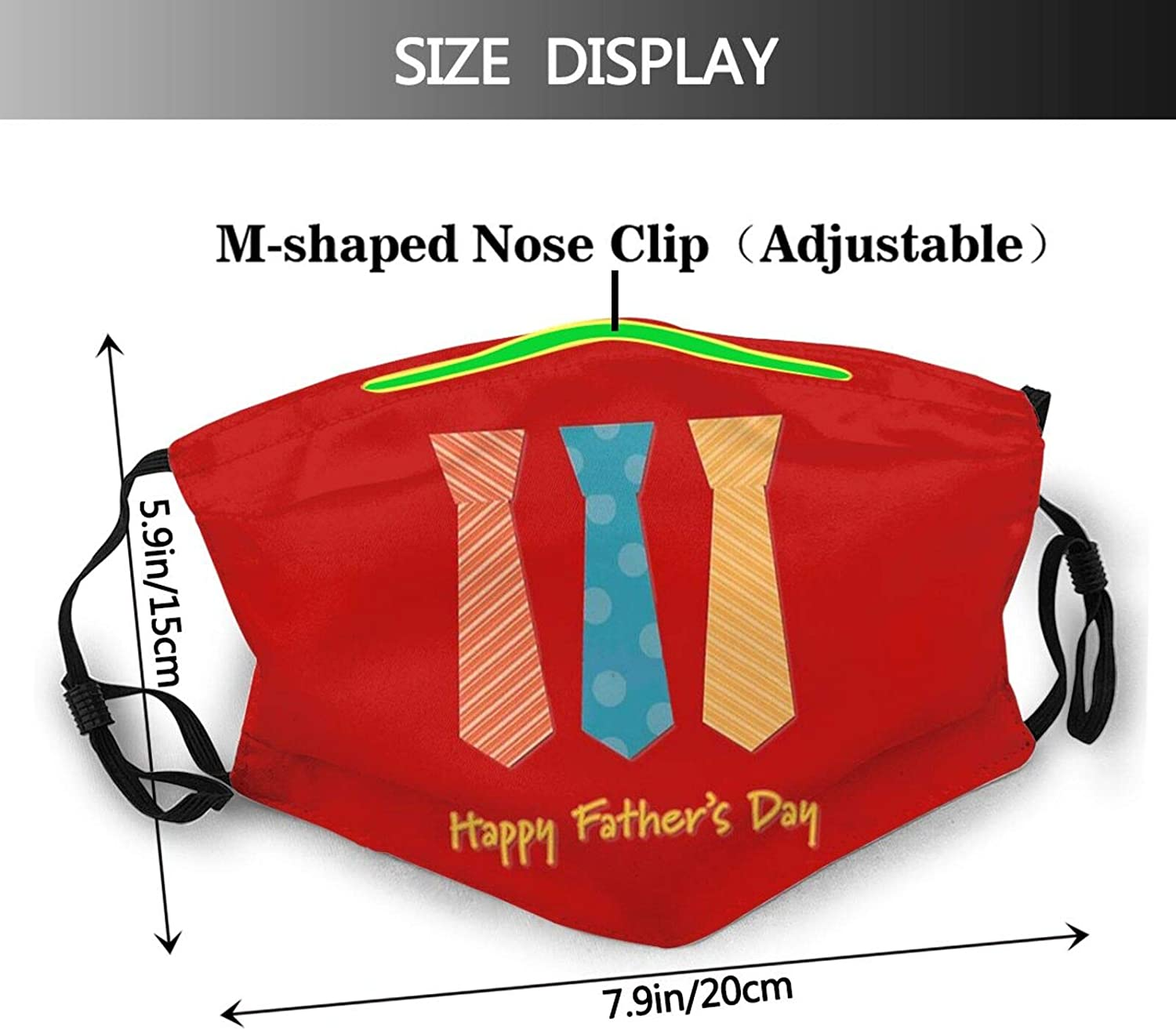 Happy Father's Day Face Mask Unisex Balaclava Mouth Cover With Filter Windproof Dustproof Adjustable