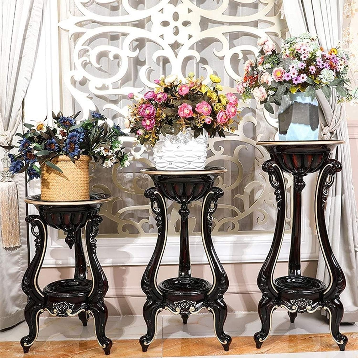Flower Stand Metal Frame Plus Wood Pot Rack Floor Type Multi-Layer Plant Stand, Bonsai Display Stand, Multi-Function Storage Rack Rack (color   Black, Size   32  56cm)