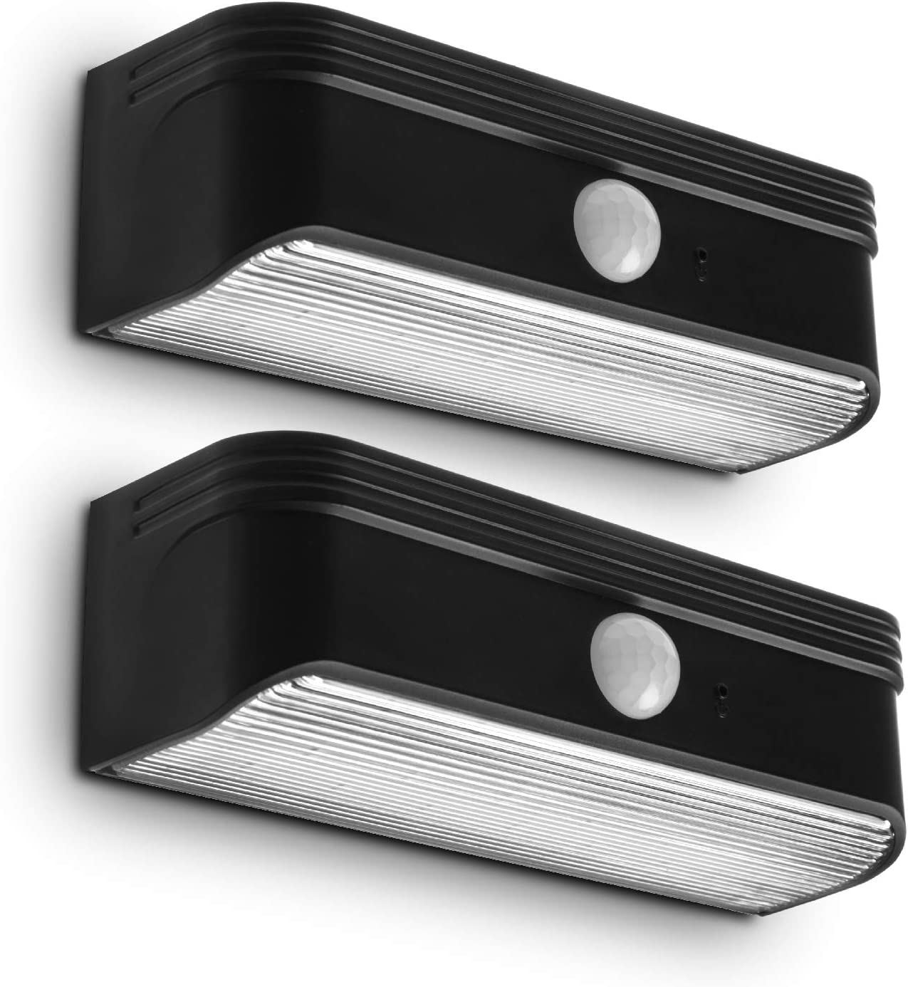 Home Zone Security Solar Step Lights - Motion Sensor LED Outdoor Deck and Step Lights with No Wiring Required, 2-Pack, Black (ELI0989V)