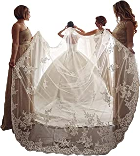 Elegant 1 Layer Lace Sequins Beaded Edge Bridal Wedding Veil with Comb - coolthings.us
