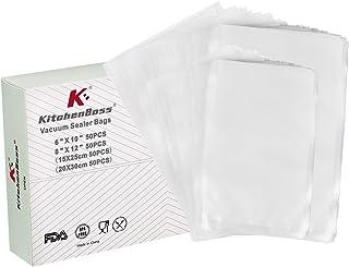 KitchenBoss Sac Sous Vide Alimentaire,100PCS 15x25cm et 20x30cm,Sacs sous Vide Gaufrés Commerciaux sans BPA,pour Conservat...