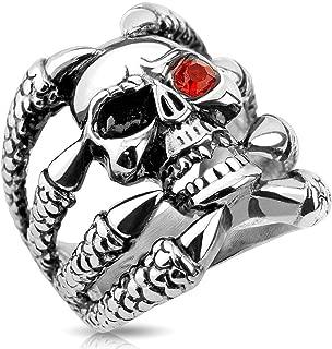 Stainless Steel Skull Ring Claw Holding Skull Red Eye