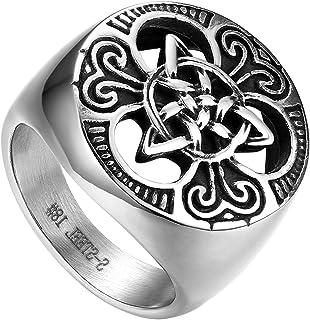 Anillo de Compromiso para Hombre, Anillo de Sello Grande Celta celtico Anillo de Nudo irlandés, Amuleto Anillo de Acero Inoxidable, Talla Grande