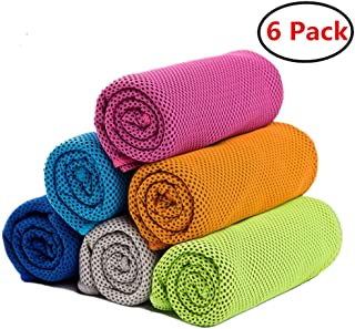 """ZONLY [6 Pack] Cooling Towel, Ice Sports Towel, Cool Towel for Instant Cooling,for Yoga, Travel, Golf, Gym,Camping, Fitness, Running, Workout & More Activities (35""""x12"""")"""