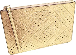 3b5fcbcbfcb7 Michael Kors Jet Set Grommet Leather Clutch Wristlet in Gold