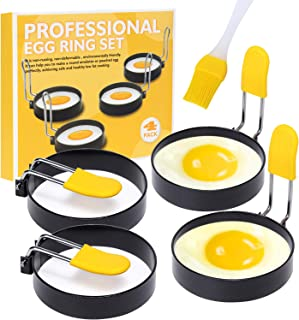 Suanyok 4-Piece Stainless Steel Egg Ring With Anti-Scalding Handle And Oil Brush, Egg Ring For Fried Eggs And English Muff...