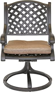 theWorldofpatio Nassau Cast Aluminum Powder Coated 2 Swivel Rocker Dining Chairs with Walnut Seat Cushions - Antique Bronze