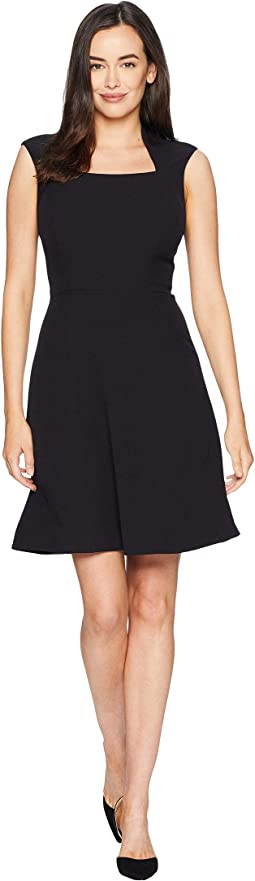Cap Sleeve Matte Jersey Dress wih Full Skirt