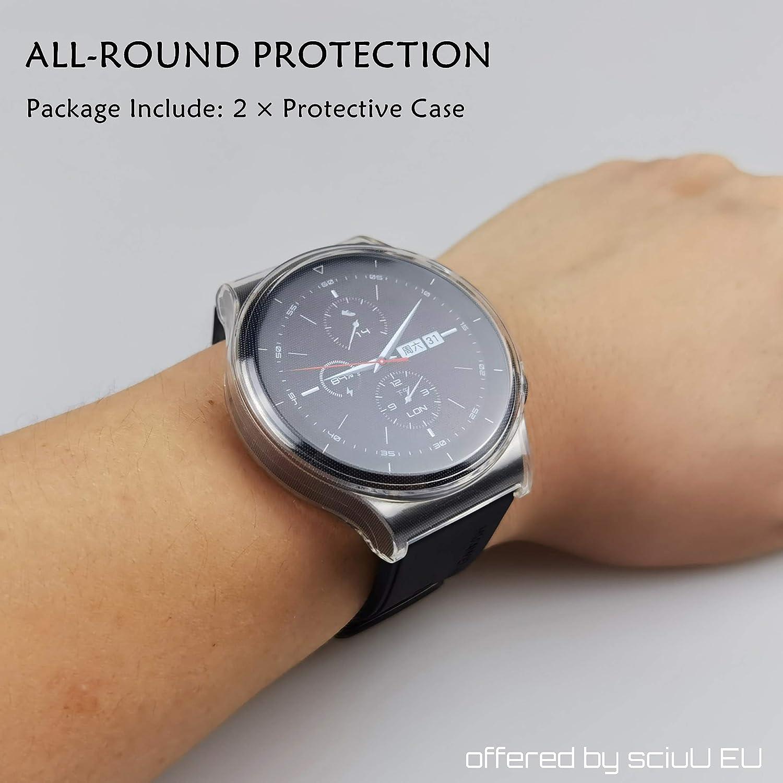 Negro Gris Conjunto de 3 Plata Suave TPU Cubierta Carcasa Protectora con Protector de Pantalla de TPU Resistente a los Golpes Shell para GT2 Pro sciuU Funda Compatible con Huawei GT 2 Pro,