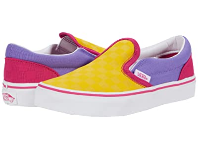 Vans Kids Classic Slip-On (Little Kid) ((Checkerboard) Multi Pop/True White) Girls Shoes