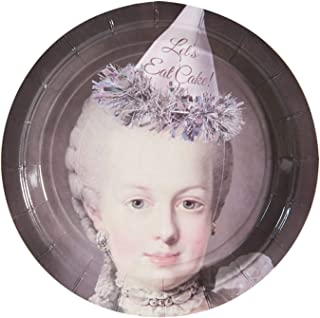 What On Earth Marie Antoinette Cake Plates - Funny Queen of France Disposable Paper Party Platters - 20 Count