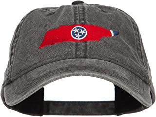 e4Hats.com Tennessee State Flag Map Embroidered Washed Cap