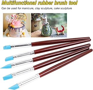 Pottery Tools - Wood Handle Silicone Rubber Clay Shaper Sculpting Polymer Modelling Pottery Tools Set for DIY Crafts 5pcs/Set