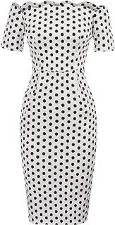 Belle Poque Women's Vintage Off Shoulder Dress Polka Dots Pencil Dress