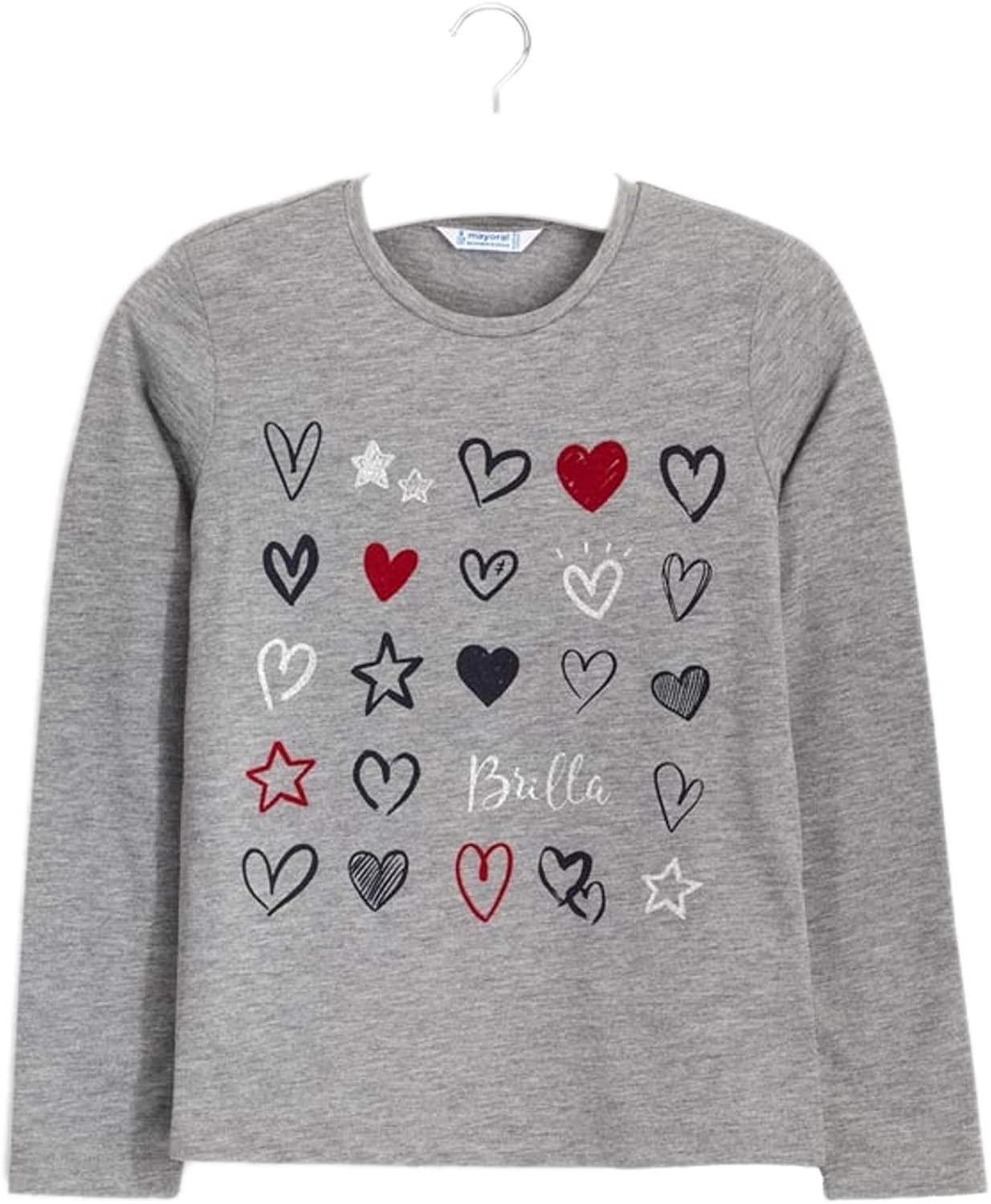 Mayoral - L/s Hearts t-Shirt for Girls - 7073, Steel