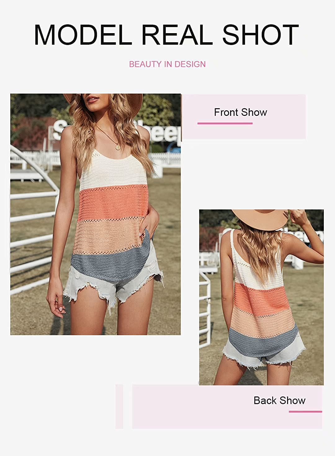 BLENCOT Women Knit Tank Tops Scoop Neck Basic Colorblock Casual Flowy Sleeveless Shirts Strappy Blouses Office S-2XL