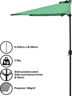 [casa.pro] Sombrilla de media pantalla con manivela verde Ø300cm para jardín, terraza