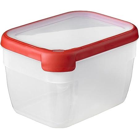 CURVER Boîte Grand Chef - Alimentaire Transparente Rectangulaire Plastique - Grande Capacité 2,4L - Boîte Conservation Tous Types d'Aliments - Adapté au Micro-Ondes, Lave-Vaisselle, Congélateur- Rouge