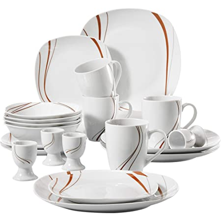 VEWEET 16x Vintage Dinnerware Set Porcelain Dinner Dessert Plates Bowls Mugs