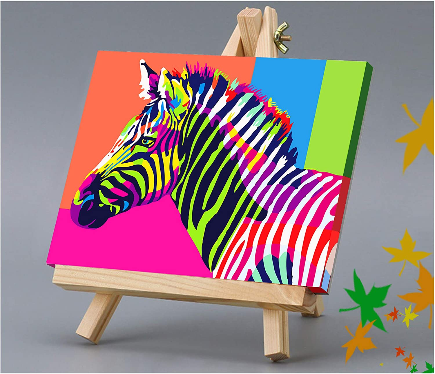 Colorful Zebra (Wooden Frame) DIY Canvas Painting Gift Kits 16/×12 inch DIY Canvas Painting Gift Kits 16 /×12 inch Maomaomi Paint by Numbers for Kids /& Adults /& Beginner
