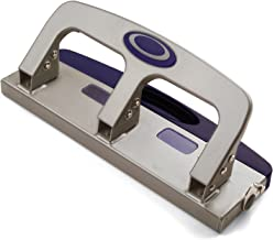 Officemate Deluxe Medium Duty 3-Hole Punch with Chip Drawer, Silver and Navy, 20-Sheet Capacity (90102)
