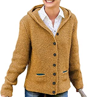 Womens Solid Button Up Knit Cardigan Hooded Cable Sweater Coat Outwear