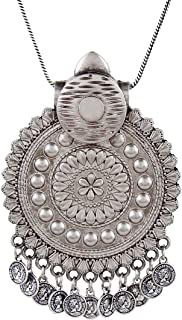 Saissa Silver Plated Oxidised Metal Pendant Coin Charms Indian Necklace Jewelry for Women