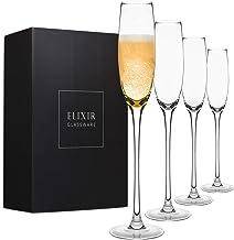 Crystal Champagne Flutes – Elegant Champagne Glasses, Hand Blown – Set of 4 Modern Champagne Flutes, 100% Lead Free Premiu...