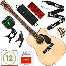 Fender CD-60SCE-12 Right Handed 12-String Dreadnought Acoustic-Electric Guitar, Natural with Fender Play Pre-Paid Card, Tuner, Capo, Strings, Picks, Strap & Deluxe Bundle