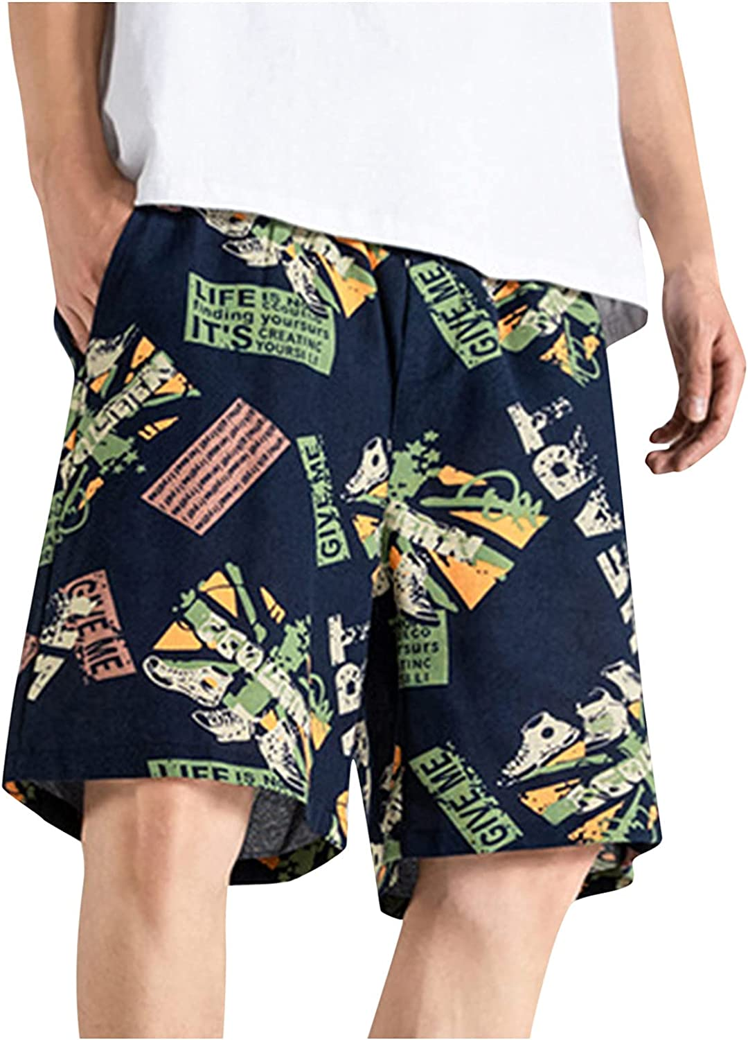 Mens Baggy Shorts Summer Beach Surfing Swim Trunks Classic Fit Beefy Board Shorts Workout Sports Quick Dry Sweatpants