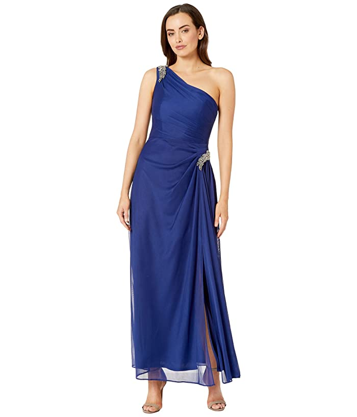 1920s Party Dresses, Great Gatsby Gowns, Prom Dresses Alex Evenings Long One Shoulder Dress with Beaded Shoulder Electric Blue Womens Dress $139.10 AT vintagedancer.com