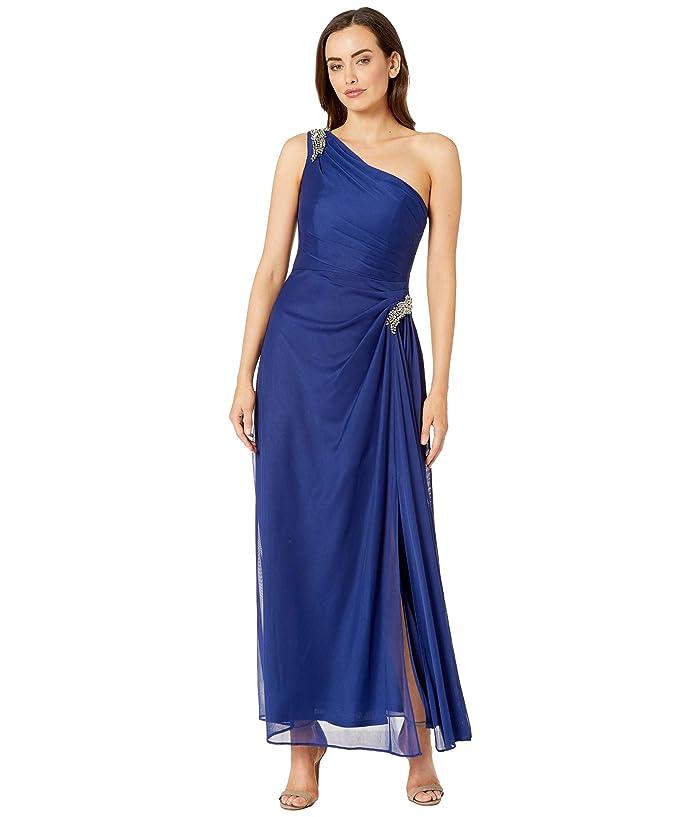 Vintage 1920s Dresses – Where to Buy Alex Evenings Long One Shoulder Dress with Beaded Shoulder Electric Blue Womens Dress $189.00 AT vintagedancer.com