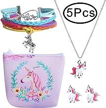 هدیه دختران Hicdaw 5PCS برای Unicorn شامل گوشواره گل میخ گوشواره گل میخ نگهدارنده گردنبند مخصوص یونیکورن