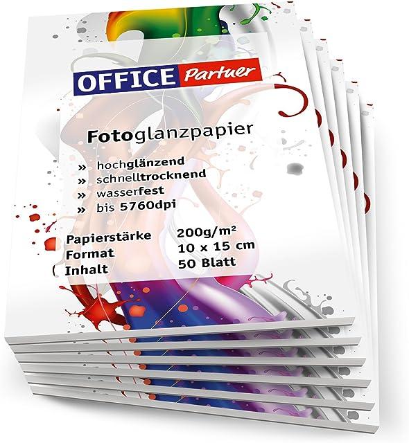 OFFICE-Partner - Papel fotográfico de gran calidad 300hojas 10 x 15 cm 200 g/m² brillante impermeable color blanco