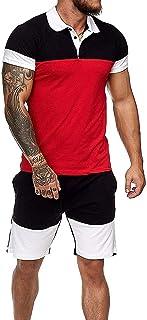 i3ckizce Mens Summer Contrast Clothes Set Casual Sportswear with Pockets Short Sleeve Polo T-Shirt Top + Shorts 2Pcs Men '...