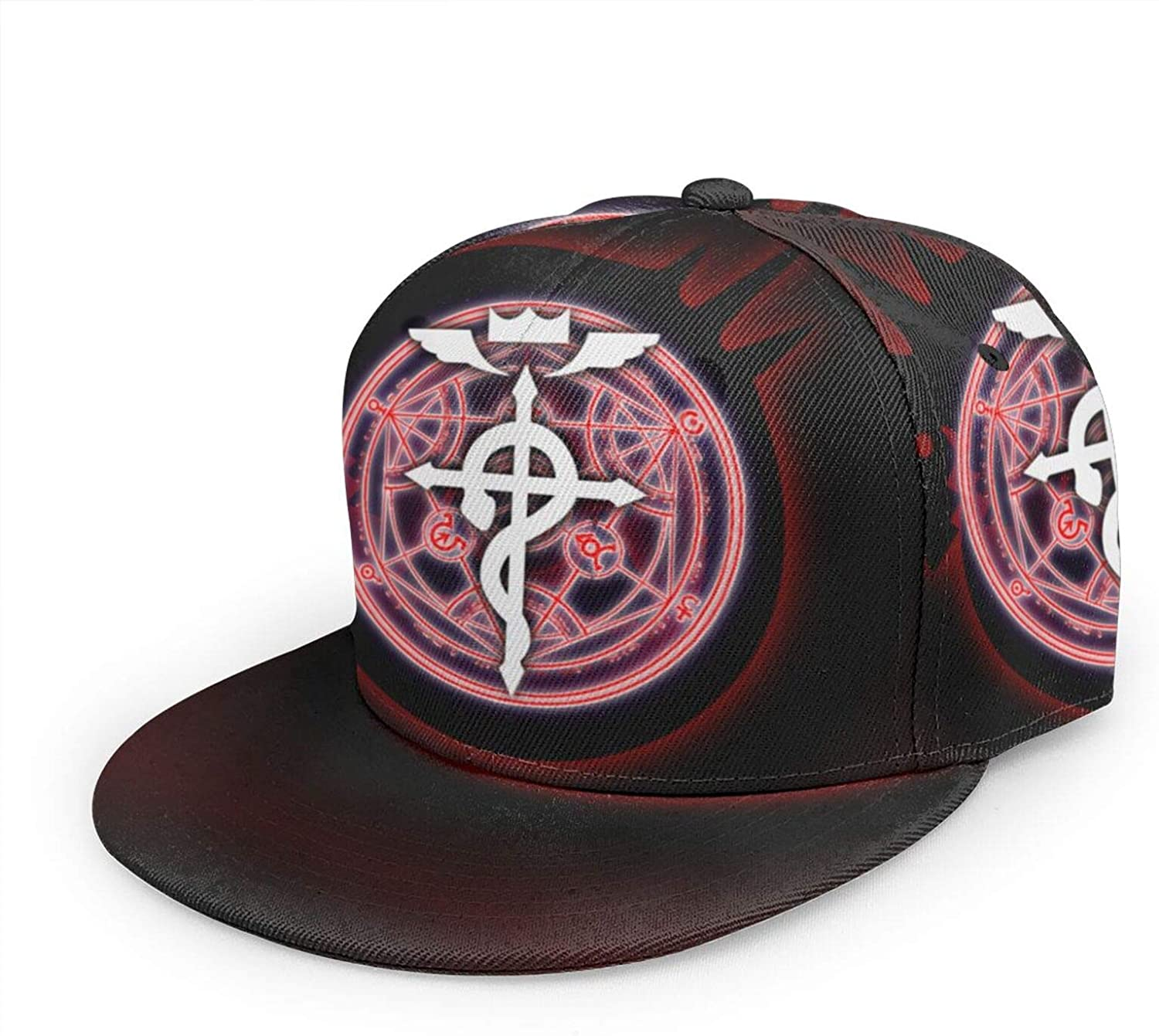 Anime Fullmetal Alchemist Baseball Cap,Men Solid Flat Bill Adjustable Snapback Hats Unisex,Perfect for Running Workouts and Outdoor Activities Black