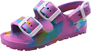 Girls Waterproof Comfort Soft Slides Double Buckle Adjustable EVA Moulded Slip-on Flat Sandals