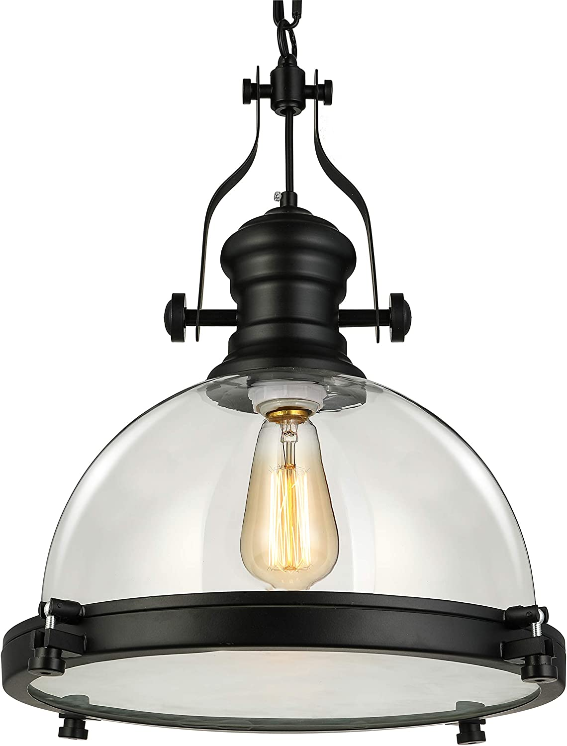 NIUYAO Industrial Nautical 15  Wide Glass Pendant Light Retro Clear Ceiling Lighting Chandelier Hanging Light with Chain for Kitchen Restuarant Cafe Living Room Bar Black